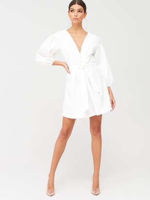 Missguided Plunge Self Button Belted Mini Dress - White