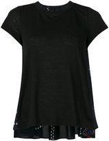 Sacai paisley panel babydoll t-shirt - women - Linen/Flax/Polyester - 2