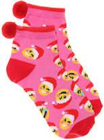 High Point Design Santa Emoji Toddler & Youth Ankle Socks - Girl's