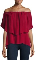 Haute Hippie Off-the-Shoulder Silk Popover Blouse, Crimson