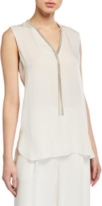 Elie Tahari Emamra Sleeveless Silk Shirt w/ Fringe Trim