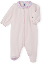 Petit Bateau Baby girls plain velour pajamas