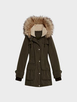 DKNY Micro Twill Jacket With Faux Fur Hood