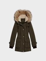 DKNY Micro Twill Jacket With Fur Hood