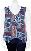 Juniors' Plus Size IZ Byer California Overlay V-Neck Tank Top