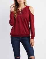 Charlotte Russe Cold Shoulder Lace-Up Detail Sweatshirt