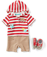 Baby Starters Baby Boys 3-12 Months Sock Monkey Striped/Solid Color Block Coverall