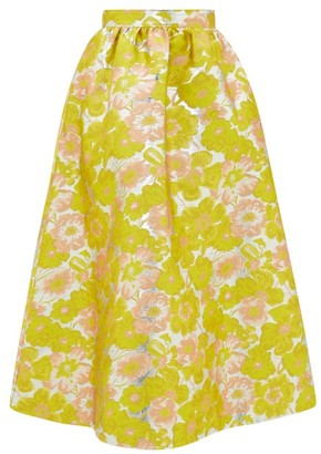 MSGM Floral-brocade High-rise Midi Skirt - Yellow