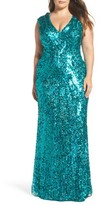 Mac Duggal Plus Size Women's Sequin Plunging V-Neck Gown