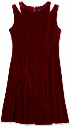 Gabby Skye Women's Sleeveless Round Neck Velvet Fit and Flare Dress w. Cut Out