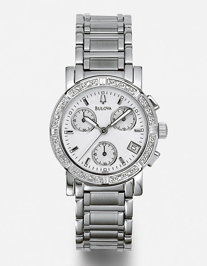 Bulova Diamond Stainless Steel Chronograph Watch