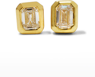 Roberto Coin 18k Gold Emerald-Cut Diamond Stud Earrings