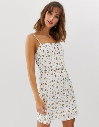 Vero Moda floral square neck mini dress-Cream