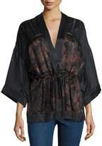 IRO Dafoe Silk Kimono Top, Black/Red