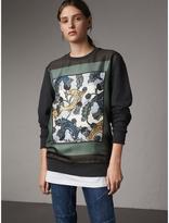 Burberry Unisex Beasts Print Silk Panel Cotton Sweatshirt