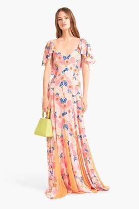 STAUD Baya Dress | Abstract Peach Blossom Tangerine