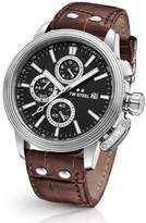TW Steel Men's Ceo Adesso Chronograph Leather Strap Watch, 48Mm