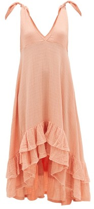 Anaak - Anneka Tie-shoulder Ruffle-hem Cotton Dress - Dark Pink