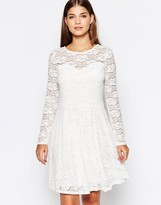 Club L Lace Skater Dress with Long Sleeves