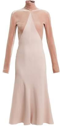 Haider Ackermann Kerria Velvet-panelled Crepe Dress - Womens - Pink