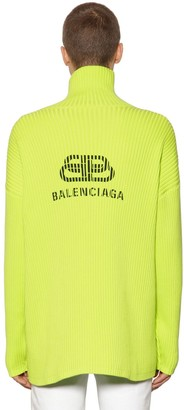 Balenciaga Logo Printed Cotton Turtleneck