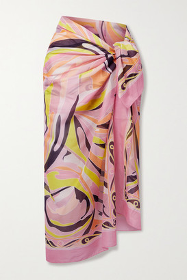 Emilio Pucci + Net Sustain Vetrate Printed Cotton-voile Pareo - Baby pink