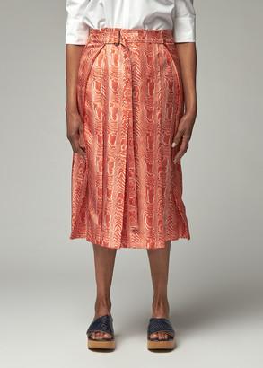 Marni Women's Pleated Wood Print Skirt in Arabesque Size 38