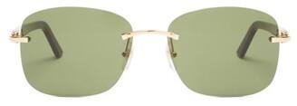 Cartier C Decor Rimless Acetate Sunglasses - Green