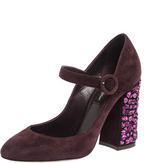 Dolce & Gabbana Burgundy Suede Mary Jane Crystal Embellished Heel Pumps Size 36