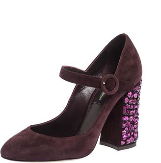 Dolce & Gabbana Burgundy Suede Mary Jane Crystal Embellished Heel Pumps Size 36
