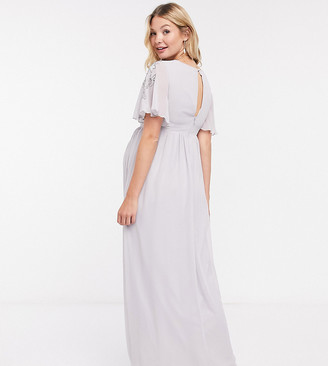 Little Mistress Maternity maxi dress with embellished detail in ice grey