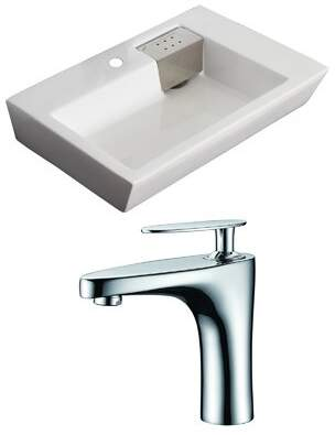 American Imaginations Ceramic Rectangular Vessel Bathroom Sink with Faucet and Overflow Hole