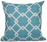 16 in. x 16 in. Chain Link Geometric Pillow in Bahama