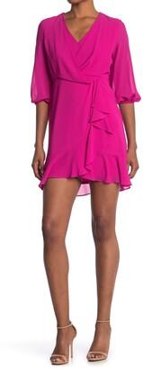 Taylor Ruffle V-Neck Faux Wrap Dress