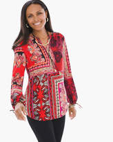 Chico's Patched Paisley Peasant Top