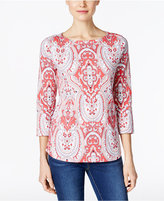Charter Club Petite Paisley-Print Boat-Neck Top, Created for Macy's
