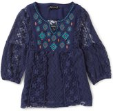 Xtraordinary Big Girls 7-16 Embroidered Lace Tunic Top