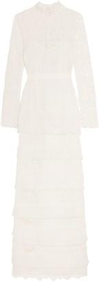 Self-Portrait Primrose Crepon-trimmed Guipure Lace Gown