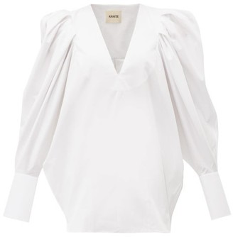 KHAITE Connie Puff-sleeve Cotton Top - White