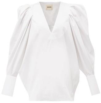 KHAITE Connie Puff-sleeve Cotton Top - Womens - White
