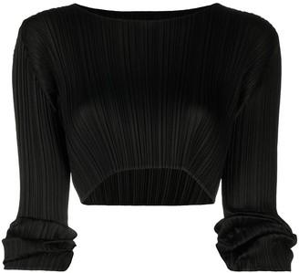 Pleats Please Issey Miyake Plisse Long-Sleeve Crop Top