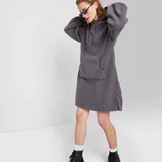 Wild Fable Women's Long Sleeve Collared Hooded Sherpa Sweater Mini Dress - Wild FableTM