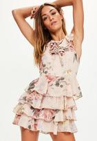 Missguided Pink Floral Print Lace Up Ruffle Playsuit, Pink