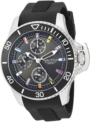 Nautica Men's 'Bayside' Quartz Stainless Steel and Silicone Casual Watch
