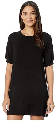 BB Dakota Babydoll French Terry Puff Sleeve Dress (Black) Women's Clothing