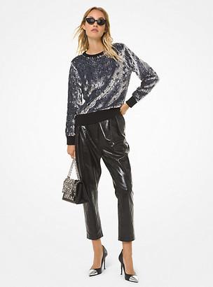 MICHAEL Michael Kors MK Sequined Nylon-Blend Sweater - Black/silver - Michael Kors