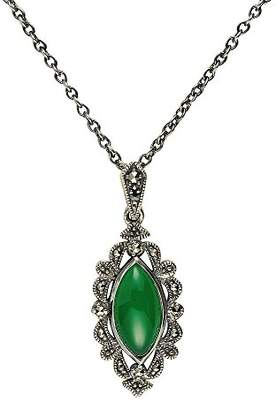 Esse Marcasite Sterling Silver Green Chalcedony and Marcasite Art Nouveau Necklace of Length 42-47cm
