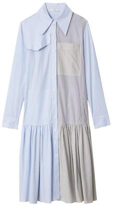 Tibi Pinstripe Colorblock Drop-Hem Shirtdress