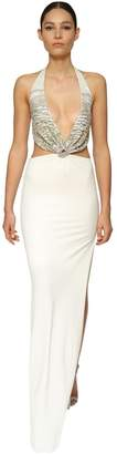 Azzaro EMBELLISHED JERSEY LONG DRESS