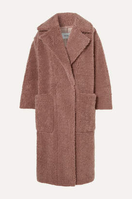 Nanushka Imogen Oversized Double-breasted Faux Shearling Coat - Brown